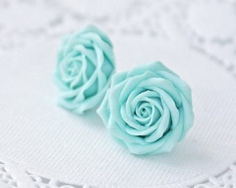 SALE Light blue flower earrings, blue rose earrings, blue rose stud earrings, blue earrings, wedding earrings, womens earrings, earring stud