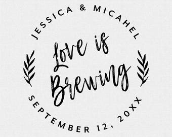 Coffee Sleeve Stamp, Love is Brewing Stamp, Wedding Favor Stamp, Stamp for Wedding Favor Gift Tags, Wedding Favor Stamp Tropical (T432)