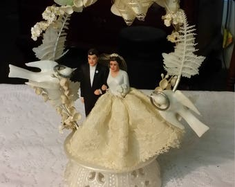 Vintage Bride with Lace Skirt Groom in Black Tuxedo Doves Wedding Cake Topper