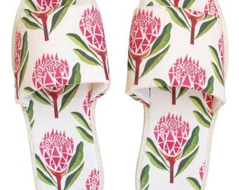 Pretty Proteas Hotel Slippers
