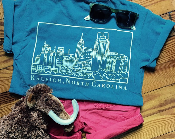 Raleigh North Carolina Skyline, Elle Karel Illustration Print on Comfort Colors KIDS T-shirts, 100% Cotton
