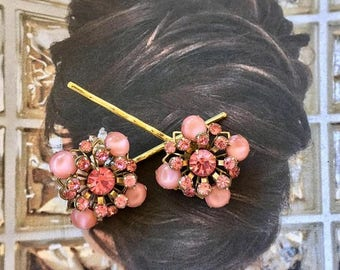 1stDayofSummerSALE Pink Moonstone Hair Pins 1940 1950 Vintage Kramer Romantic Bridal Jewelry Decorative Rhinestone Hairpins Bobby Pins