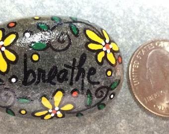 New!  Tiny Happy Rock - Breathe - Hand-Painted Beach River Rock Stone - yellow daisy sunflower