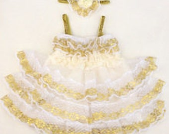 Ivory White and Gold Tutu Ruffle Party Dress Tulle and lace Party Skirt Birthday Outfit with Headband