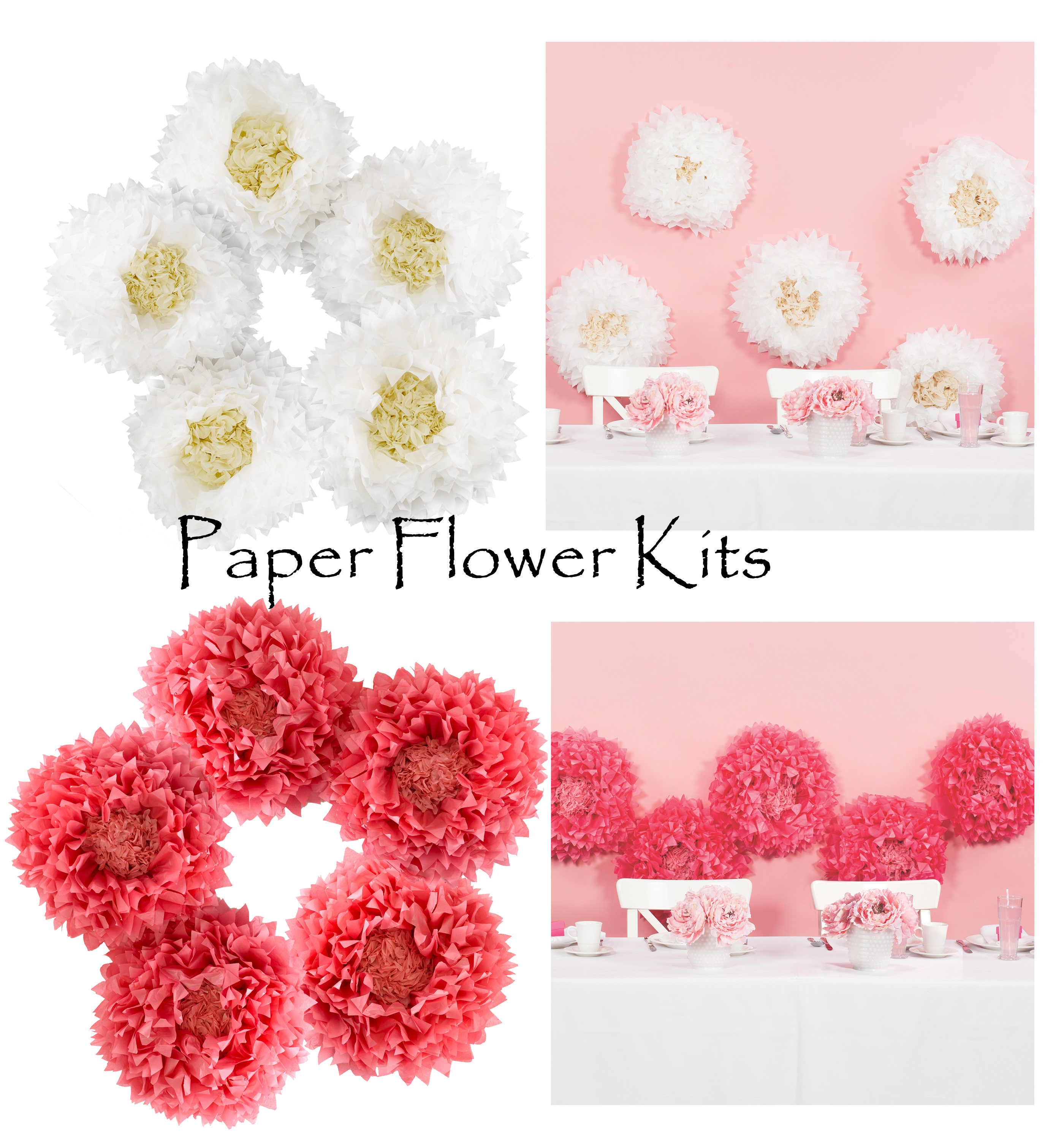 Amazing tissue paper flower kit photos images for wedding gown tissue paper flower kit u make 5 flowers party decorations mightylinksfo
