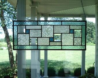 Stained Glass Panel Seafoam Green Window Transom