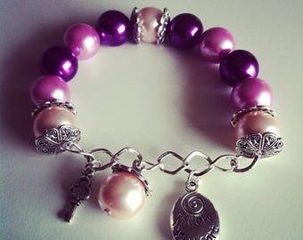 Charm bracelet purple violet and pale pink #73