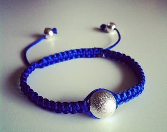 Shamballa bracelet adjustable blue and silver #65