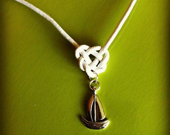 Leather Celtic knot with sailboat pendant necklace