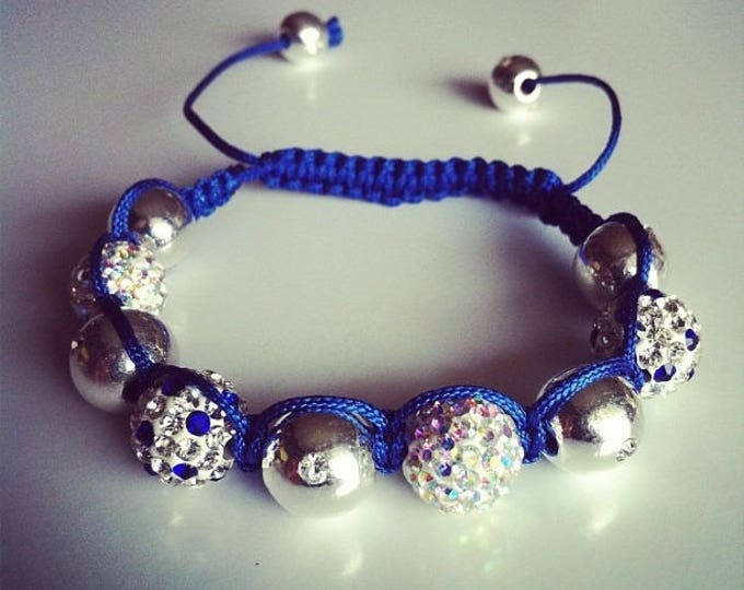 Shamballa bracelet adjustable blue white silver #16