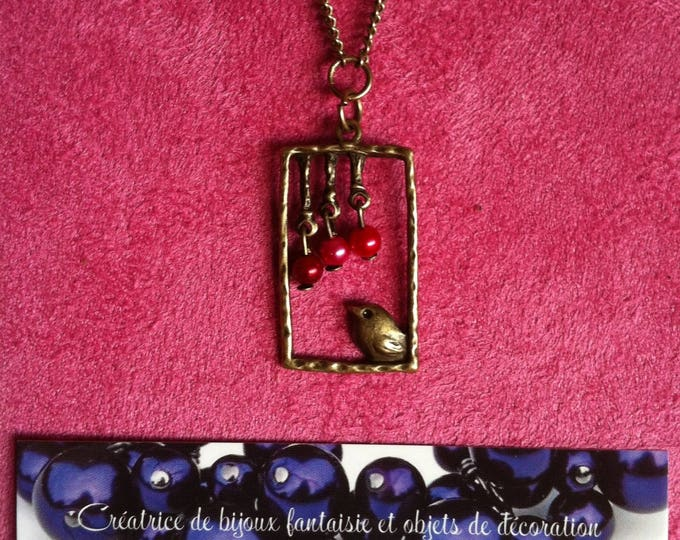 Necklace chain brass window red bird 004