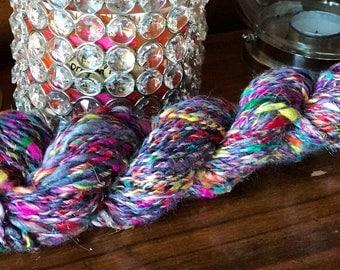 Handspun Silk BFL 2Ply 60 yards Art Yarn Skein DK weight Knitting Crochet Weaving Yarn