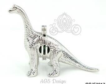 Brontosaurus Dinosaur Pearl Cage Charm Locket Silver Plated Pendant Black Cord LE Dino