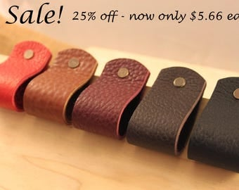 Handcrafted in USA: All leather wide loop drawer / cabinet pulls tabs with Hardware!