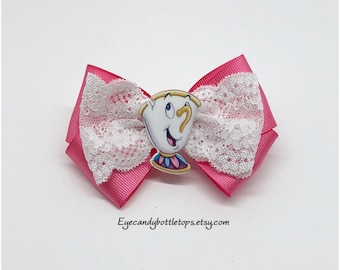 Pink Chip Tea Cup Hair Bow