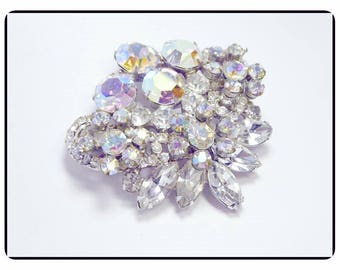 Gorgeous Sparkling Vintage D&E Juliana Brooch - Juliana Lovely Aurora Borealis Brooch w Clear Chatons and Navettes  - Pin-165a-071317035