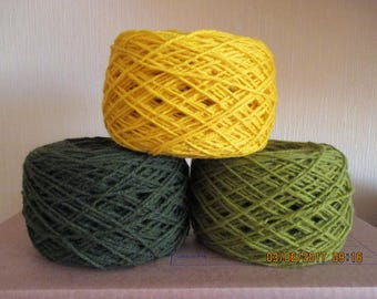 Set of 3 Wool yarn Green Yellow for knitting 300 g N 8/3