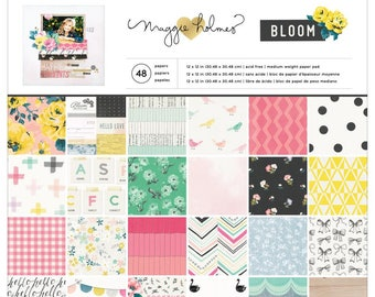 """Crate Paper Single-Sided Paper Pad 12""""X12"""" 48/Pkg Maggie Holmes Bloom"""