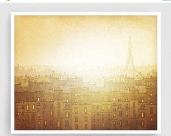 30% OFF SALE: Morning hope - Paris Art Illustration Giclee Art print Home decor Paris decor Travel poster Cityscape City drawing Mustard Arc