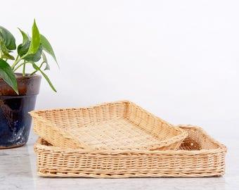 Basket Tray Set of 2 / Woven Basket Tray / Woven Tray / Storage Tray / Serving Tray / Nesting Baskets