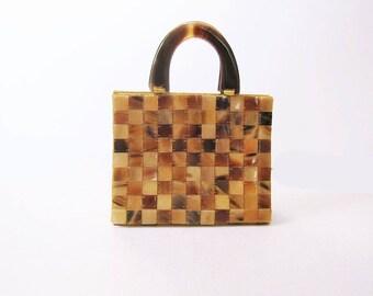 Small Handbag - Box Handbag - Top Handle Bag - Tortoise Shell Bag - Clutch Purse - Checkerboard - Mod Retro Purse - Amber Brown Honey Purse