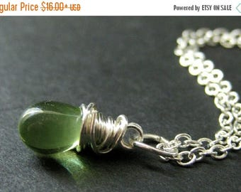BACK to SCHOOL SALE Green Teardrop Necklace in Silver. Bridesmaid Necklace. Wire Wrapped Teardrop Necklace. Handmade Jewelry.