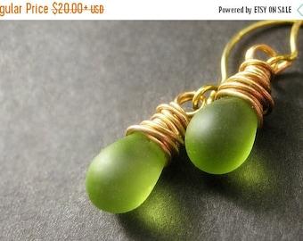VALENTINE SALE 14K Gold Teardrop Earrings - Frosted Apple Green Glass Wire Wrapped Earrings. Handmade Jewelry.
