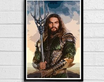 Aquaman- Jason Momoa Illustration 1, Justice League Superhero Movie Pop Art, Atlantis Comic Book Home Decor, Poster Print Canvas