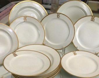 12 Pc Set Antique Limoges Dinnerware Set/Creme Ground/22 Kt Gold Monogram Trim/China Set/Cabinet Display/Classic Design/Circa 1900 1909