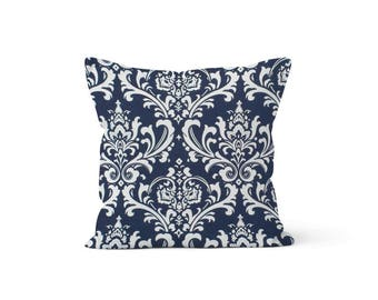 Navy Damask Pillow Cover Blue  - 18 x 18, 20 x 20 and More Sizes - Zipper Closure - sc1820