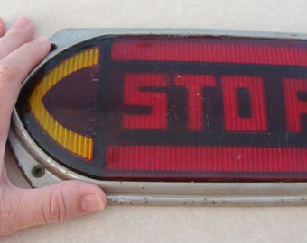 Antique Commercial Bus or Truck Stop Arrow Turn Lens Set w/ Bezels, 2 Colors Red & Yellow, 1930's?