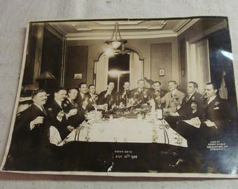 "1928 B&W Original Signed Photo, Group of Gangster Like Men Feasting in Jersey City, 8"" x 10"""