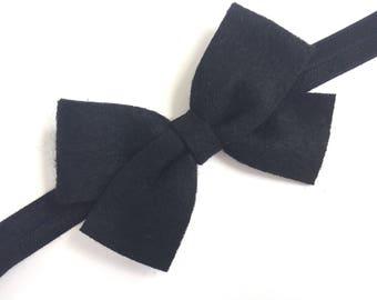Black felt baby headband - black baby headband, black newborn headband, baby bow headband, infant headband, toddler headband, baby headband