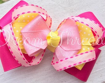 Lemonade Birthday, Boutique Double Stacked Hairbows, Baby Boutique Bows, HairBows, Flower Hairbows, girls (made to order)