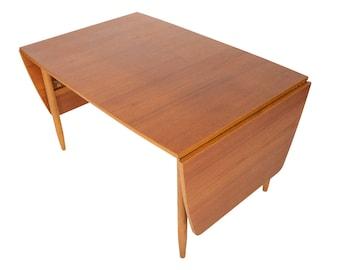 Scandinavian Mid Century Modern Teak + Oak Drop Leaf Dining Table