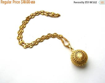 Sale Filigree Ball Necklace - Gold Tone