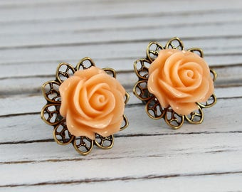 Peach Rose - vintage, Victorian style antique brass rose post earrings - Secret Garden Collection