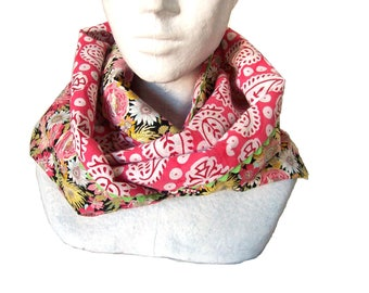 infinite scarf in floral and indian fabric , circle scarf black and pink cotton , women's loop scarf