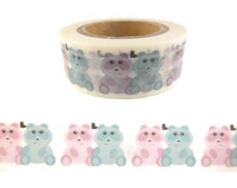 Blue and Pink Teddy Bear Washi Tape - II1713
