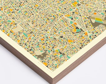 MEXICO CITY MAP, Ready to Hang Wood Print, Wall Art for the Home Decor by Jazzberry Blue