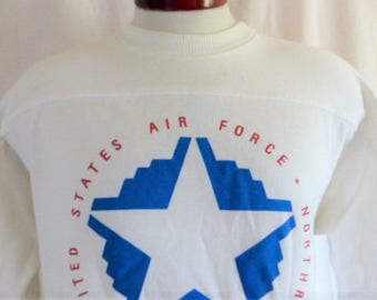 vintage 80s United States US Air Force B-2 Team Northrop Rollout 1988 white fleece graphic sweatshirt blue star red circle sleeve logo Large