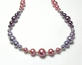 multicolor Swarovski crystal pearl sterling silver necklace graduated pink purple mauve pearl necklace beaded jewelry necklaces for women
