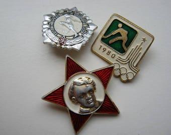 Set of 3 vintage USSR pin badges - Youth, Sport, School