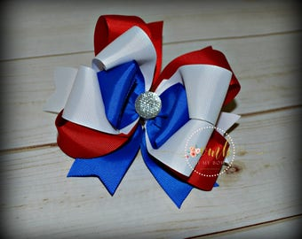 Patriotic Boutique Style Bow / Red Bow / White Bow / Blue Bow / Hairbow / Hair Bow / Large Bows / Solid Color Bows / 4th of July Bows