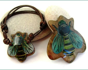 """Bracelet and brooch """"Fly"""" - Brown/Turquoise"""