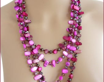 Necklace /Sautoir plum-Fuchsia/Pink - Pearl and Crystal
