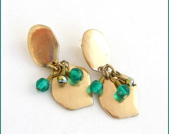 Earrings - brushed gold Metal - green Swarovski Crystal