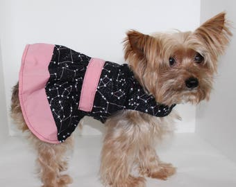 Black Pink Dog Dress, XS S M L, Beautiful Stars Constellations of Hearts, with Love Dresses for dogs, Designer Fashion Dog Clothes