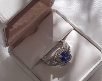 14K White Gold, Diamond Tanzanite Ring