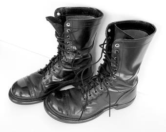 Vintage Jump Boots Black 6.5 or 8, Combat Boots Black 6.5 or 8, Paratrooper Boots Black  6.5 or 8, HH Government Issue Boots, 6.5 or 8